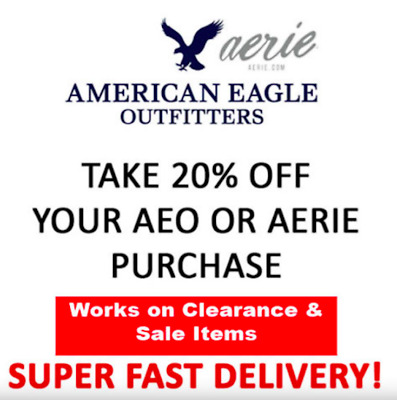 American Eagle 20% OFF COUPON! WORKS ON CLEARANCE TOO! Exp 3/31/19