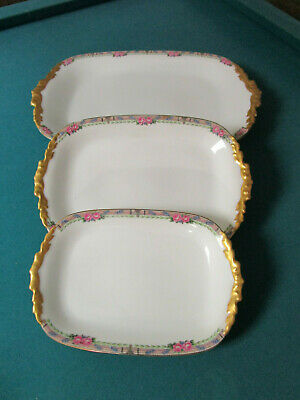 Antique Jean Pouyat France 3 Trays Different Sizes John Wanamaker Mark  Limoges