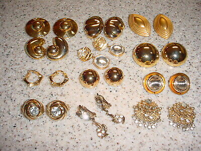 Vintage Lot Of 12 Big And Bold Gold Tone Clip Earrings