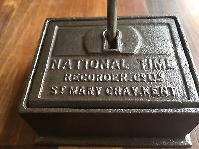 Industrial Old Cast Iron Watchmans National Time Recorder Box & Keys