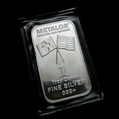 METALOR Assayer and Refiners 1 Troy oz .999 Fine Silver Bar Scarce Tough to find
