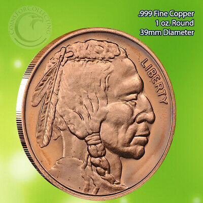 """2012 """"Indian Head"""" 1 oz .999 Copper Round Limited & Rare not minted anymore"""