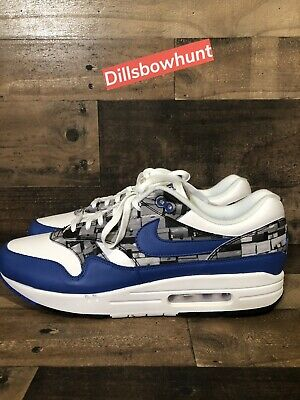 huge discount 89f68 2383c Nike Air Max 1 Print Aq0927-100 Atmos We Love Nike White Royal Grey Ds