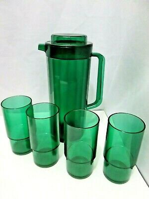 VTG TUPPERWARE SHEERLY ELEGANT EMERALD GREEN 5pc PITCHER/TUMBLER/CUP DRINK SET