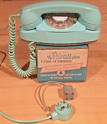 Rare, True Turquoise 1964 Princess Phone by Western Electric, Rotary, with Box