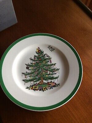 "Spode Christmas Tree Dessert/Salad 7 3/4"" Plate Made in England S3324 T ~ Mint"