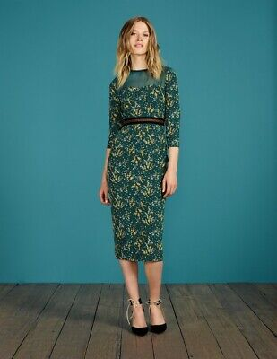 feb40796aa8e NWT Boden Icons Hettie Fitted Dress Green Silk Crepe De Chine Print UK10 US  6
