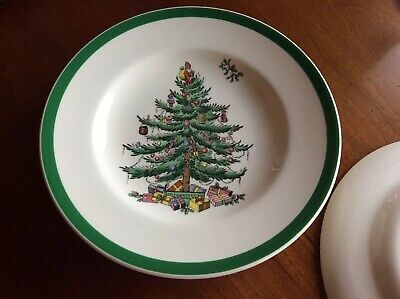 """Spode Christmas Tree Bread And Butter Dessert Plates 6.5"""" England S3324 ~ Mint"""