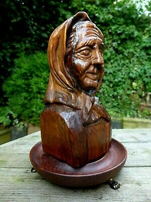 Antique Vintage Wooden Hand Carved Old Lady Art 1918 Collector Home Cottage Art