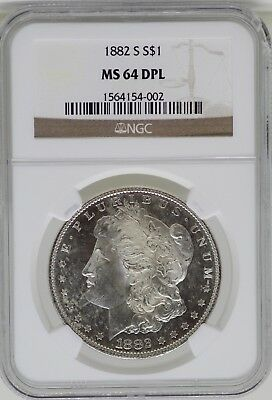 1882-S Morgan de Plata Dólar NGC Ms 64 Dpl Certificado - San Francisco Mint-