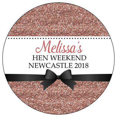Personalised GLOSS Rose Gold Glitter Hen Do Party Night Weekend Bag Stickers