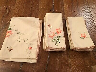 Vintage Table Cloth Placemats napkins  Bridge  Luncheon ecru ivory butterfly