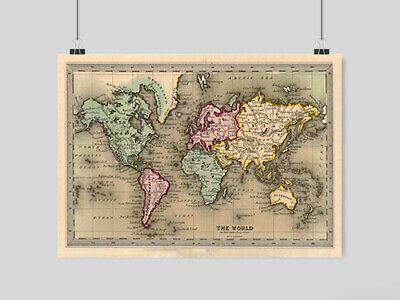 Old World Vintage Map Of The World Classic A3 A4 Size