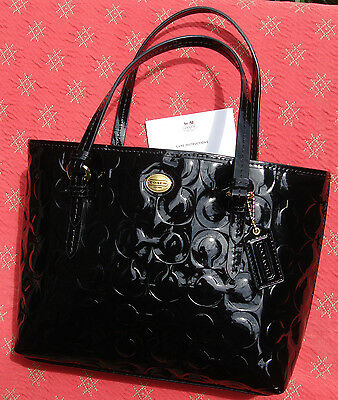 6778562d225d AUTHENTIC COACH PEYTON Embossed Black Patent Leather Domed Satchel ...