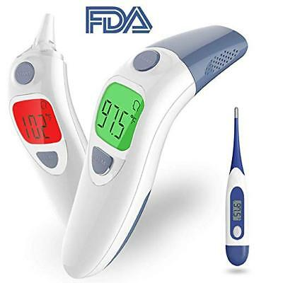 FDA Ear & Forehead Infrared Digital Thermometer w Memory, Baby Kids +Oral Thermo