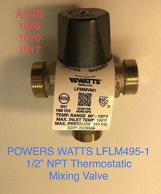 """1/2"""" Npt Pipe Watts Powers Lflm495-1 Thermostatic Hydroguard Sink Mixing Valve"""