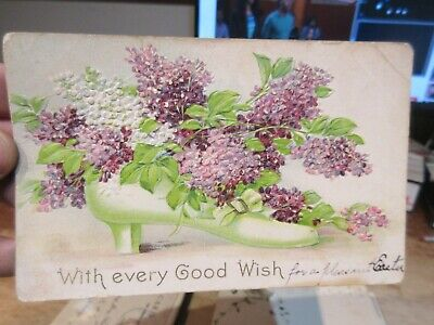 Vintage Old Antique Victorian ERA Postcard Happy EASTER Glass Shoe Slipper Lilac
