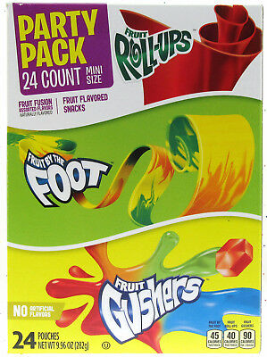 Betty Crocker Party Pack Gushers Fruit Roll-Ups By the Foot Snack 24 9.96oz