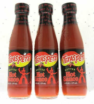 Texas Pete Hotter Hot Sauce Three 6oz Bottles Sealed Spicy Hot Pepper Fire Heat