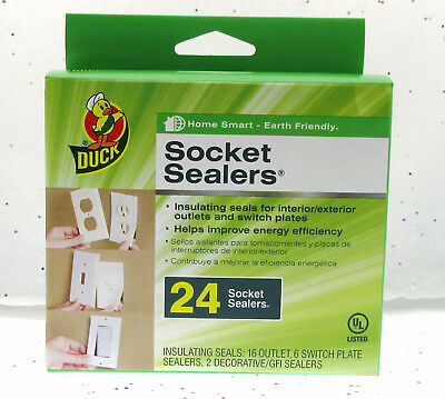 Socket Sealers ~ Duck ~ 24 Insulating Seals ~ Fits Electrical Outlet Switch GFI