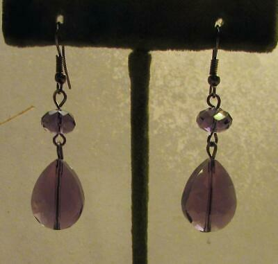 Vintage 70's Chunky Glass Crystal Bead Drop Dangle Pierced Earrings Dark Purple