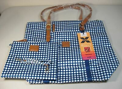 fbba9b0c941 BRIC'S LARGE SPORTINA X-Bag 3-in-1 Tote Crossbody Pouch Blue White Dots NWT