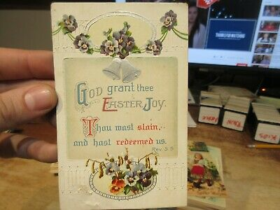 Vintage Old Antique Victorian ERA Postcard Happy EASTER Revelation Bible Verse