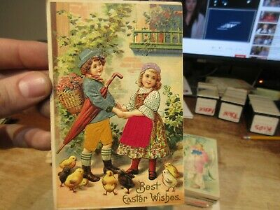 Vintage Old Antique Victorian ERA Postcard Happy EASTER Kids Real Fabric Clothes