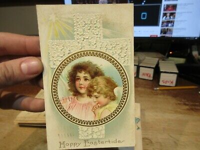 Vintage Old Antique Victorian ERA Postcard Happy EASTER Angel Cherub Cross Sun