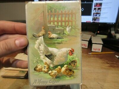 Vintage Old Antique Victorian ERA Postcard Happy EASTER Chicken Hen Mother Chick