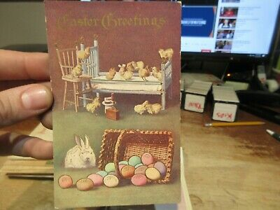 Vintage Old Antique Victorian ERA Postcard Happy EASTER Chicks in Bed Eggs Chair