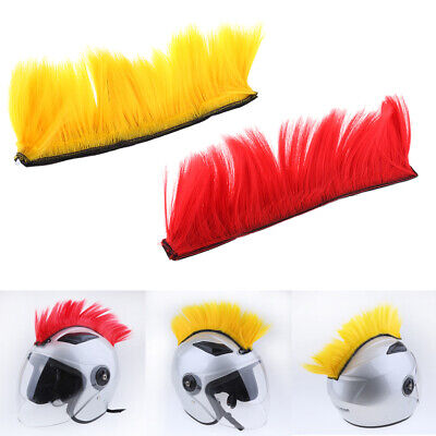 Motorcycle Wig Punk Helmet Mohawk Wig Costumes Hairpiece Yellow/Red