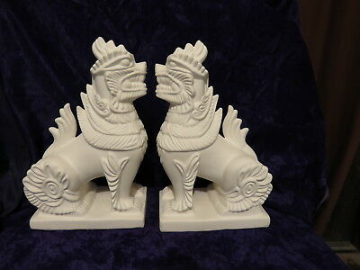 Ceramic Ready to Paint Feng Shui Temple Dogs 27cm Tall x 2