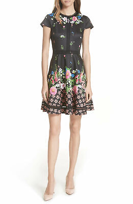 ceb9075ef Ted Baker London Daissie Cap Sleeves Florence Lace Trim Skater Dress in  Black