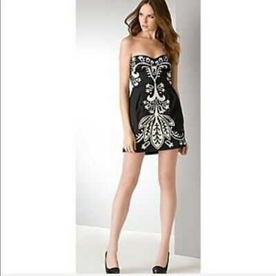 52f4e1b71a3e4 French connection Damask Strapless mini dress Black and White embroidered