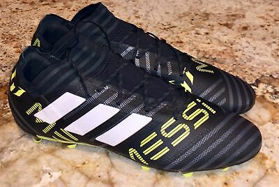 ADIDAS Messi 17.2 FG Soccer Cleats Boots BLACK White Yellow Grey NEW Mens  8.5 12 30723b54d