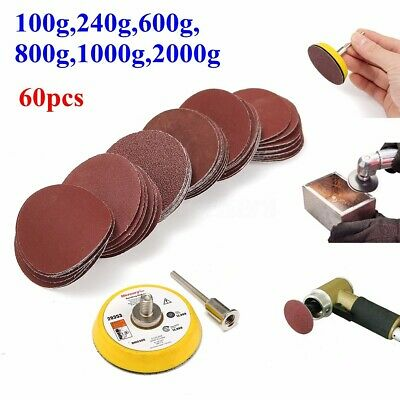 "60Pcs 2"" Sanding Disc + 50mm 1/4"" Hook and Loop Sandpaper Sander Backing Pad !"
