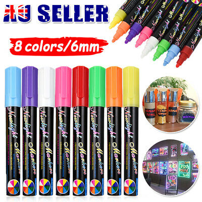 8 Colours Dual Nib 6mm Neon Liquid Chalk Pen Marker Blackboard Glass Window DIY