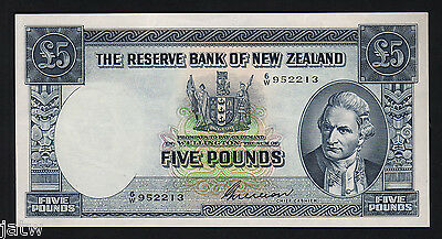 NEW ZEALAND P-160b. 5 Pound (1955-56). Wilson signature.. Prefix 6/W..  EF