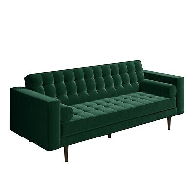 Buttoned Green Velvet Sofa - 3 Seater with Cushions - Elba SOF040