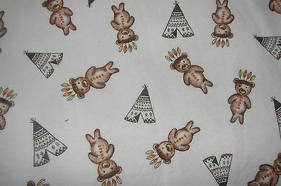 Flannelette Fitted Tribal Teddies White Cot Sheet Handmade
