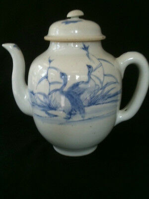 Vintage Ducks In Reeds Blue White Porcelain Teapot Blue Character Marks To Base