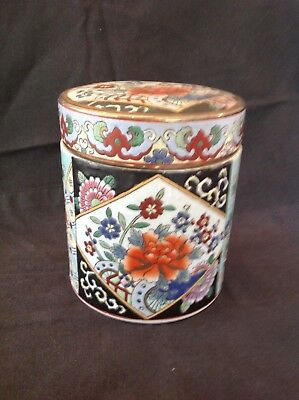 VINTAGE PORCELAIN TEA CADDY 15cm TALL x 13cm DIAMETER RED CHARACTER MARK TO BASE