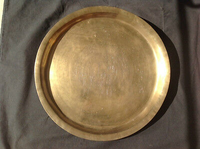 VINTAGE CHINESE ENGRAVED BRASS WALL PLAQUE 46cm DIAMETER w/ FOUR SYMBOLS