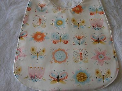 Butterflies & Flowers White Baby Bib Cotton Front Towelling Back Handmade