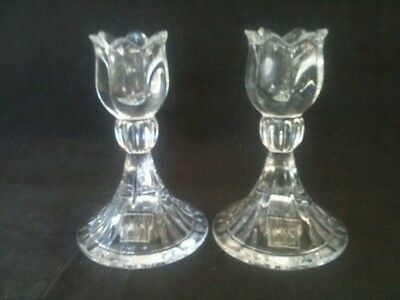 """Pair Mikasa 5"""" Tall Lead Crystal Spring Ritual Candle Holders Original Stickers"""