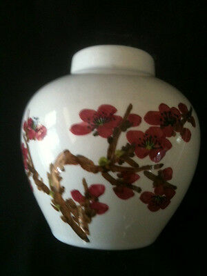 VINTAGE 8cm TALL CHERRY BLOSSUM VASE w/ BROWN CHARACTER MARK TO BASE