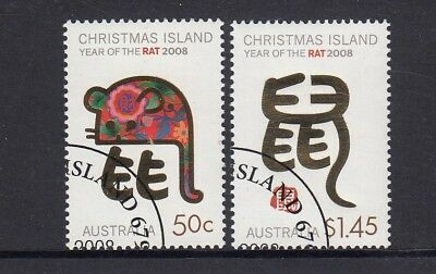 CHRISTMAS Island 2008 Year of the RAT design set of 2 VFU