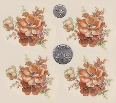 "4 x Waterslide ceramic decals Decoupage 2 1/2"" x 2 3/4"" Anemone bunch PD21"