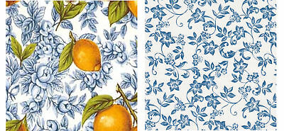 "Waterslide ceramic decals 2 x 4"" squaresTiles Lemons, Blue/white floral Chintz"